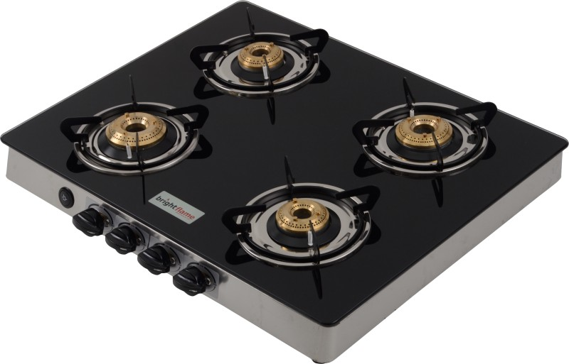 Brightflame Tulip Glass, Stainless Steel Automatic Gas Stove(4 Burners)