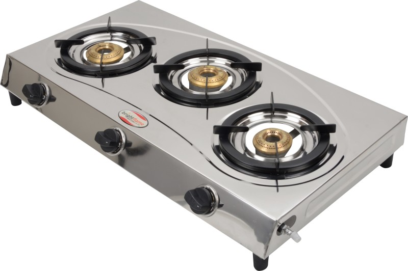 Bright Flame Surya Tri Steel Manual Gas Stove(3 Burners)