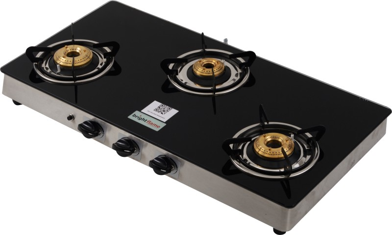 Brightflame Tulip Glass, Stainless Steel Manual Gas Stove(3 Burners)
