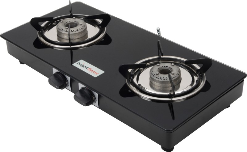 brightflame Compact Glass, Steel Manual Gas Stove(2 Burners)
