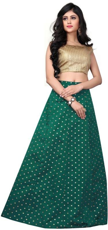 Active Striped Semi Stitched Lehenga Choli(Green)