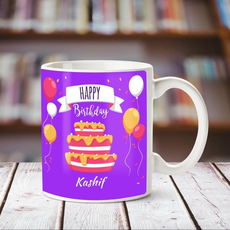 Chanakya Happy Birthday Kashif White ceramic mug Ceramic Mug(350 ml)
