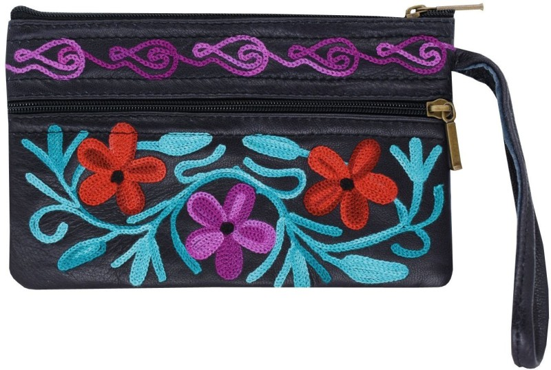 Bagaholics Handmade Kashmiri Crewel Embroidery pure Leather Wristlet Pouch Multipurpose Pouch Handbag Hand Clutch Purse gift for ladies / girls / women Pouch(Black)