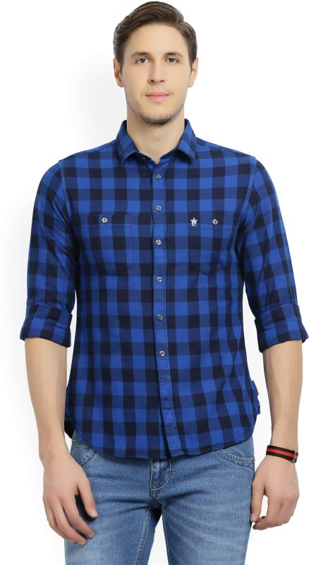 French Connection Mens Checkered Casual Spread Shirt
