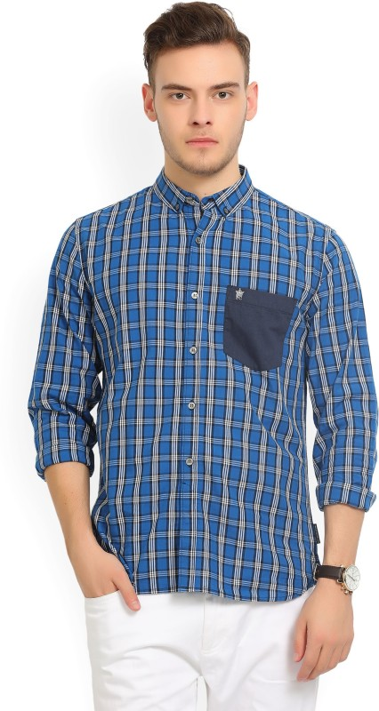 French Connection Mens Checkered Casual Button Down Shirt