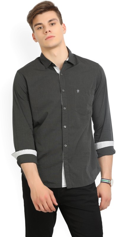 French Connection Mens Solid Casual Grey Shirt