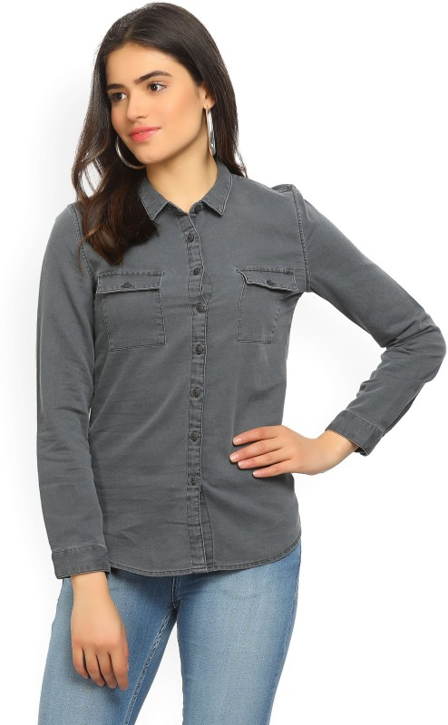 Wrangler Womens Solid Casual Spread Shirt