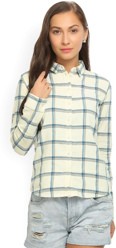 Wrangler Womens Checkered Casual Spread Shirt