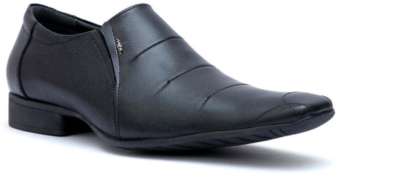 Hitz Hitz Mens Black Genuine Leather Slip On Formal Shoes Slip On For Men(Black)