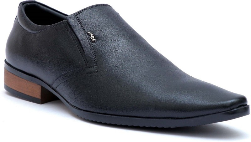 609a3b37cf92 Hitz Hitz Mens Black Genuine Leather Slip On Formal Shoes Slip On For Men( Black