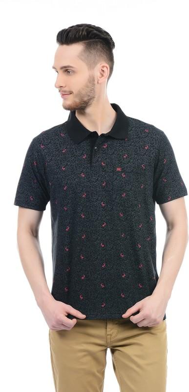 Monte Carlo Printed Men Polo Neck Black T-Shirt