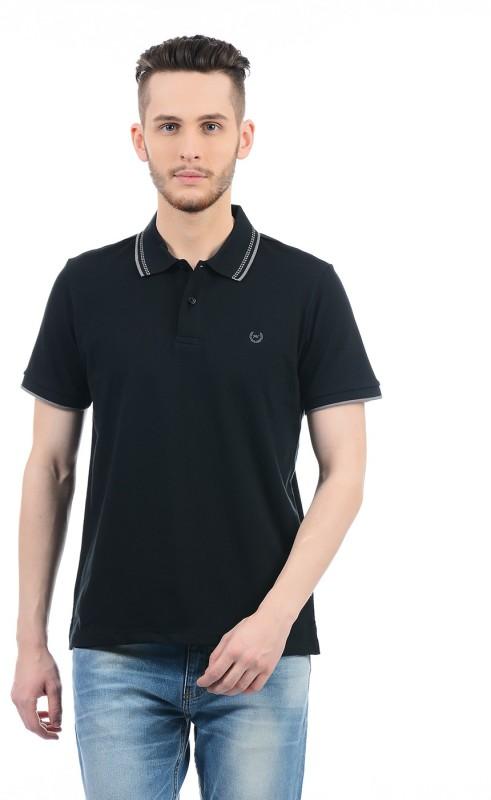 Monte Carlo Solid Men Polo Neck Black T-Shirt
