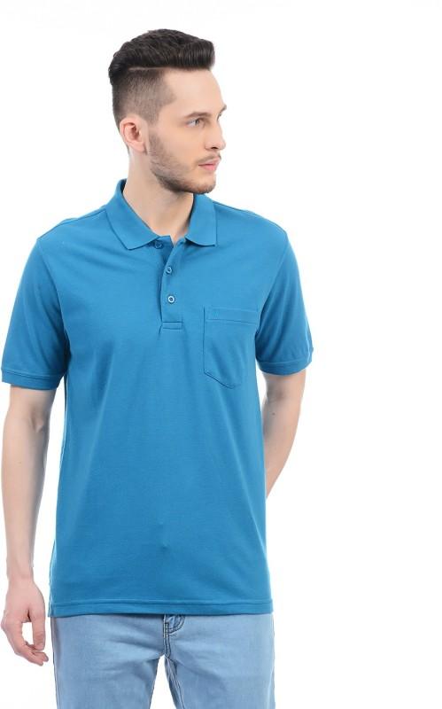 Monte Carlo Solid Men Polo Neck Blue T-Shirt