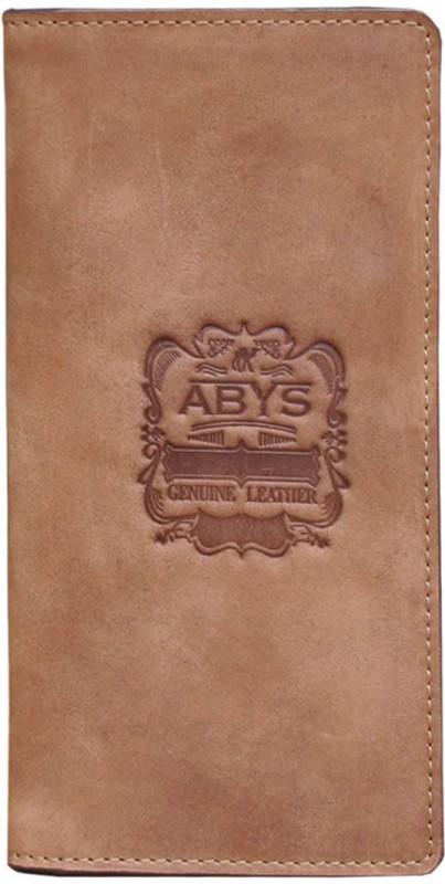 ABYS Tan Hunter Leather Travel Card Holder/Long Wallet for Men & Women(Tan)