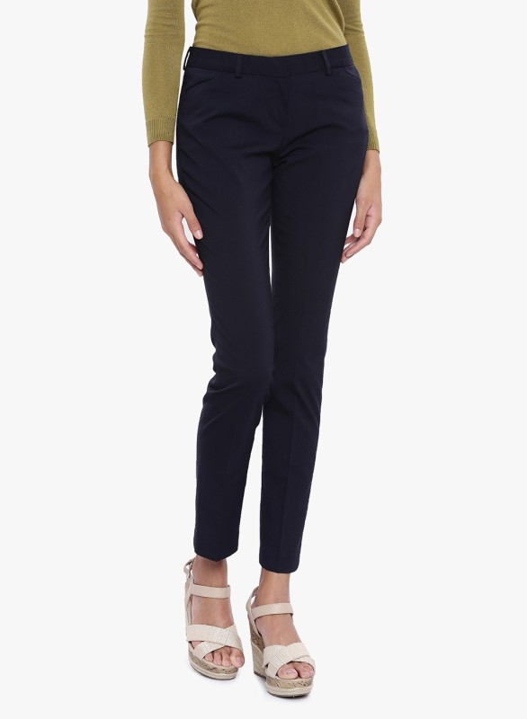 Arrow Woman Slim Fit Women Dark Blue Trousers