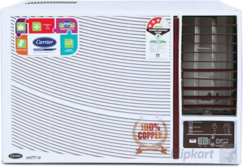 Carrier 1.5 Ton 3 Star BEE Rating 2018 Window AC - White(18K ESTRA (3 STAR)/CACW18EA3W1, Copper Condenser)