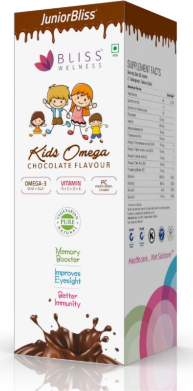 Bliss Welness Bliss Welness Kids Omega 3 6 9 Syrup (Junior Bliss) (DHA + ALA + PC + Vitamin A C D E) Chocolate Flavour - 300 gm Chocolate Flavored Syrup(300 g)