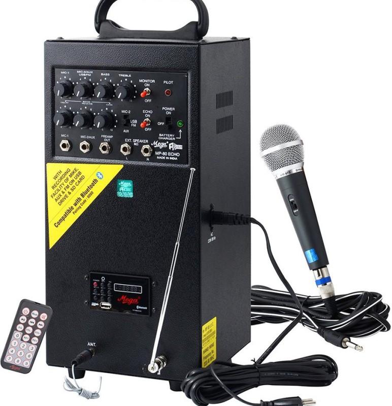 Mega MP-80 USB ECHO WITH RECORDING Boom Box(Black)