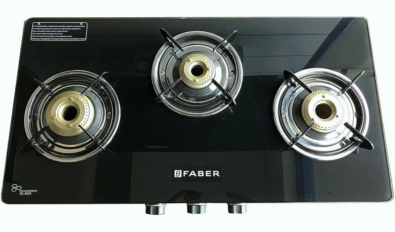 FABER Splendor 3BB SS AI Stainless Steel Automatic Gas Stove(3 Burners)