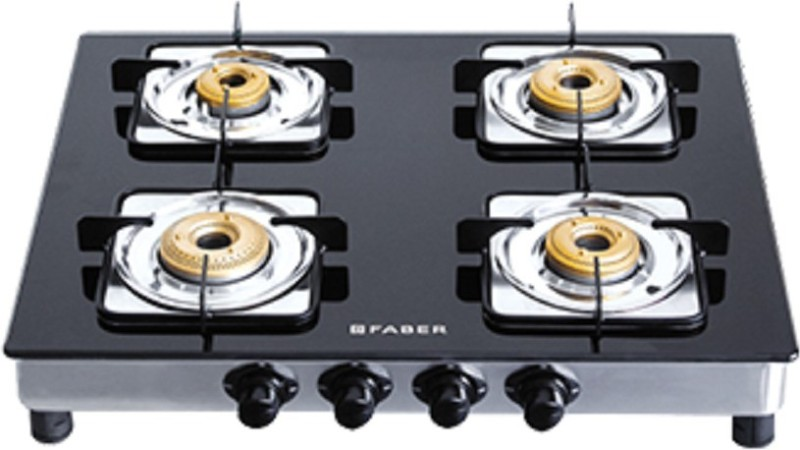 FABER Supreme Plus 4BB AI Stainless Steel, Glass Automatic Gas Stove(4 Burners)