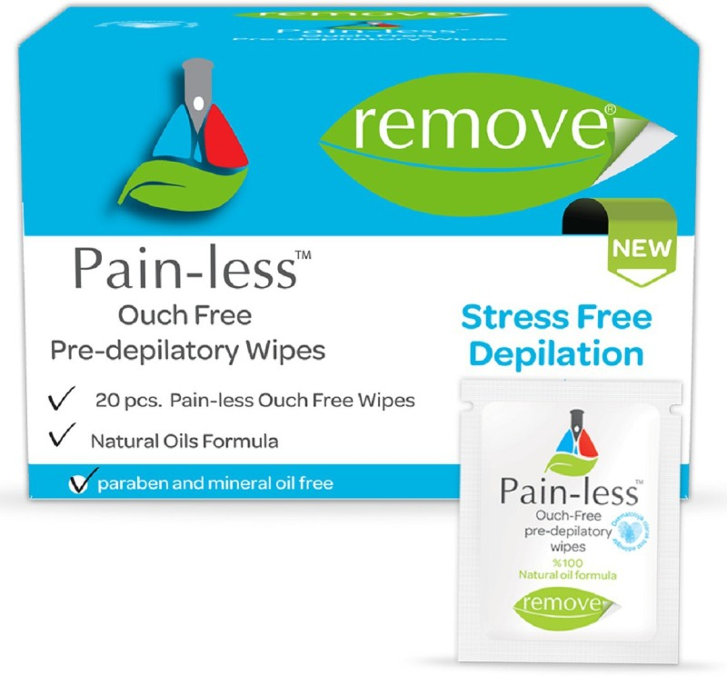 Remove Pain-Less Pre Depilatory Wipes 20 Pc Wax(20 g)