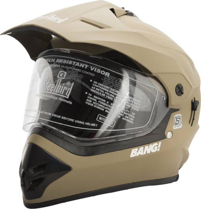 Steelbird Steel bird Bang SB-42 Motorcross helmet Motorbike Helmet(Mat Desert Strom)