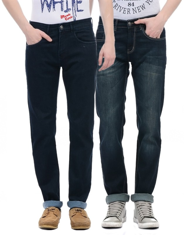 Monte Carlo Regular Men Dark Blue Jeans(Pack of 2)