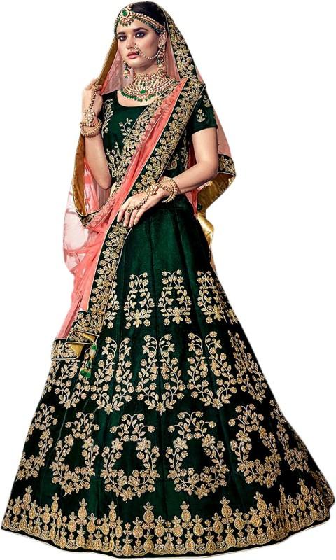 Shree Impex Embroidered Semi Stitched Lehenga, Choli and Dupatta Set(Dark Green)