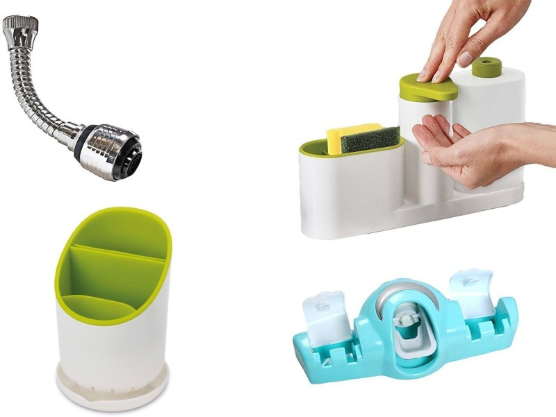 Continental GTC COMBO of 2 in 1 Automatic Toothpaste Dispenser and Tooth Brush Holder and Sinkbase and Turbo Flex 360 Instant Hands Free Faucet Swivel Spray Sink Hose Faucet hose spray and Cutlery Drainer 2 L Shampoo Dispenser(Multicolor)