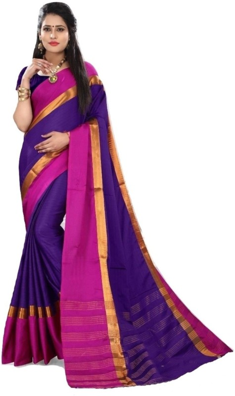 Navya Fashion Solid Fashion Tussar Silk Saree(Magenta)