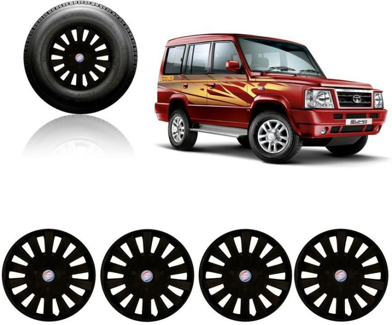 Auto Pearl Premium Quality Car Full Black Caps Black 15 inches Press Type Fitting Matt Finish Wheel Cover For Tata Sumo(38.01 cm)