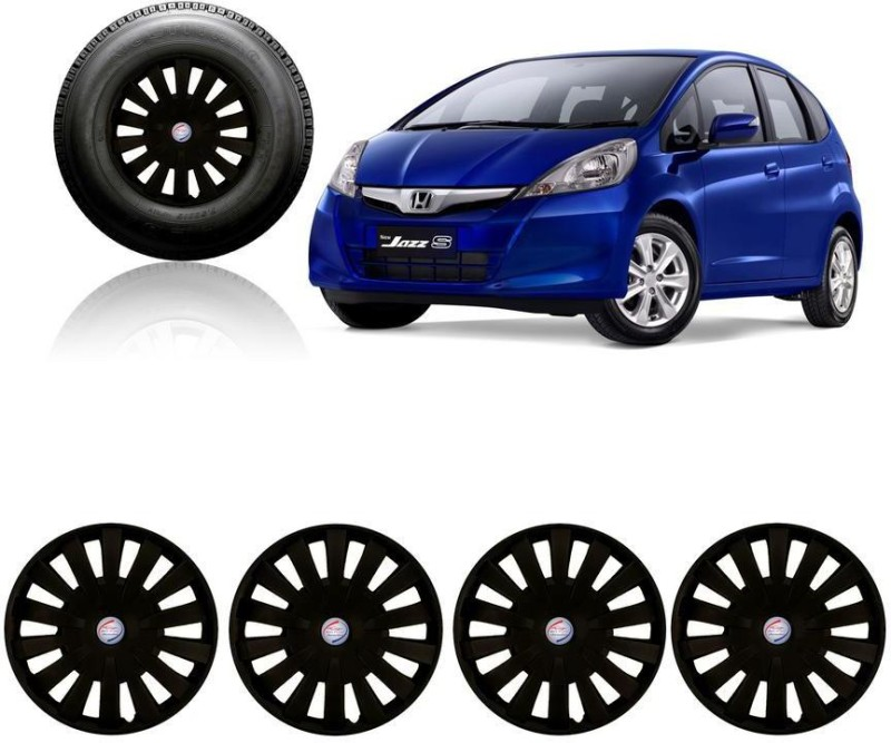 Auto Pearl Premium Quality Car Full Black Caps Black 15 inches Press Type Fitting Matt Finish Wheel Cover For Honda Jazz(38.01 cm)