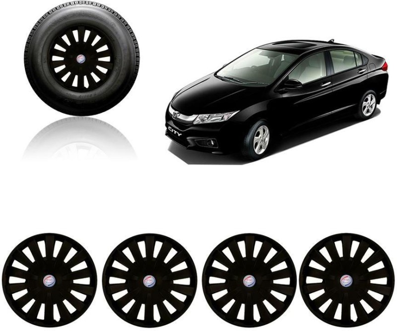 Auto Pearl Premium Quality Car Full Black Caps Black 15 inches Press Type Fitting Matt Finish Wheel Cover For Honda City(38.01 cm)