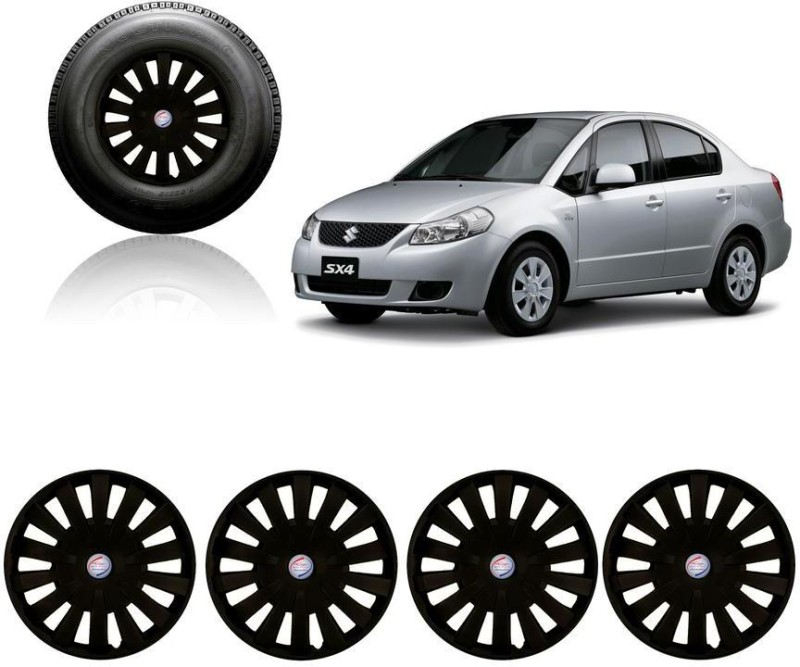 Auto Pearl Premium Quality Car Full Black Caps Black 15 inches Press Type Fitting Matt Finish Wheel Cover For Maruti SX4(38.01 cm)