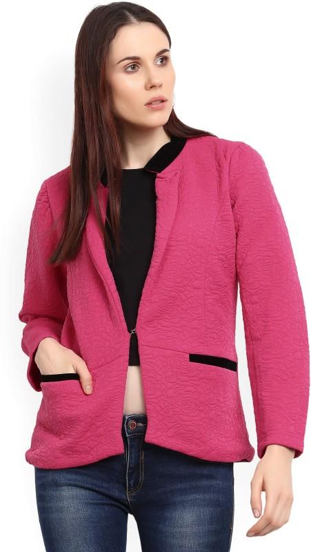 Fort Collins Self Design Mandarin Party Womens Blazer(Pink)