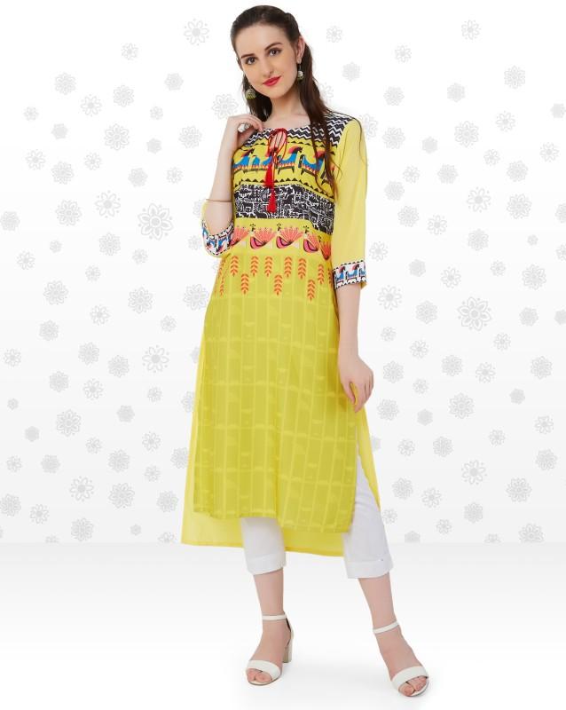 Anmi Tribal Print Women Straight Kurta(Yellow)