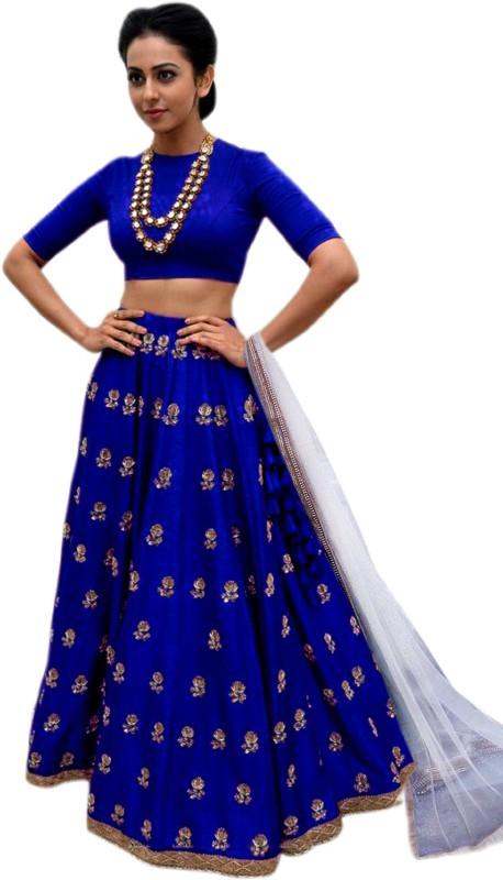 Shree Impex Embroidered Semi Stitched Lehenga, Choli and Dupatta Set(Blue)
