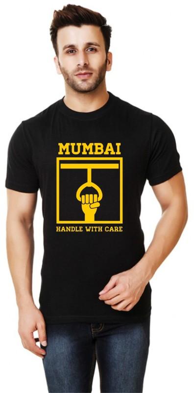 Elepants Typography Men Round or Crew Black T-Shirt