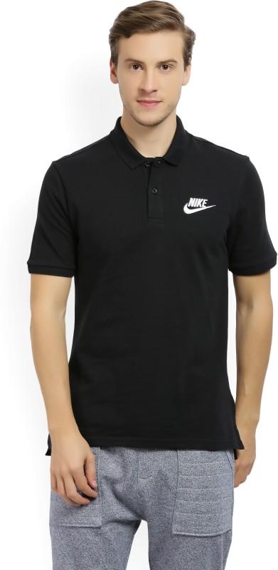 Nike Solid Men's Polo Neck Black T-Shirt