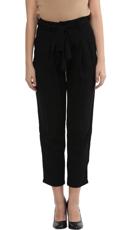 TAARUUSH Regular Fit Women Black Trousers
