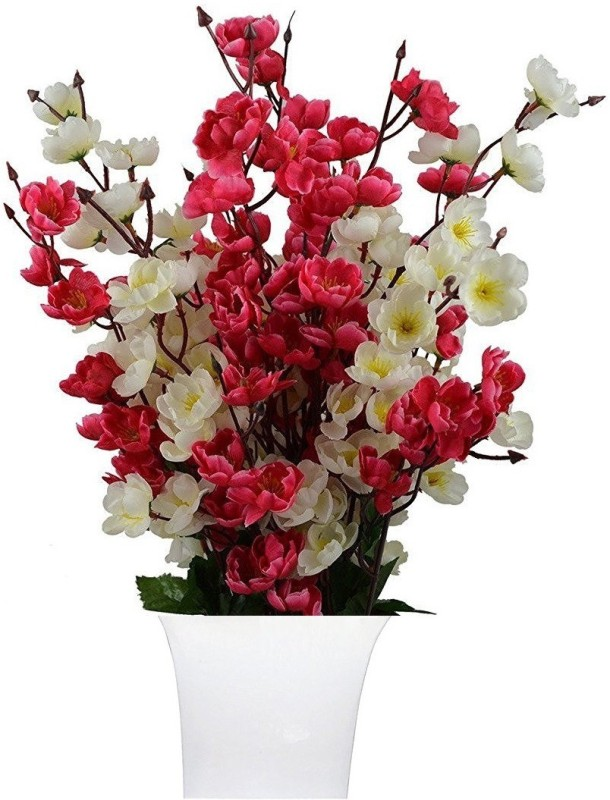 kaykon Red, White Orchids Artificial Flower with Pot(17 inch, Pack of 1)