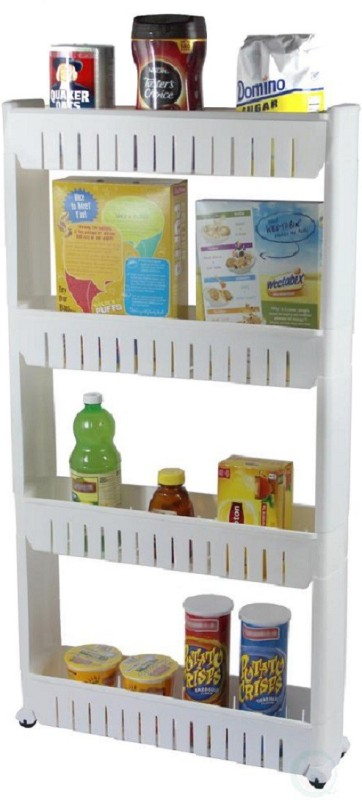 Royalkart Bathroom and Kitchen Slim Storage Cart - Slide Out Shelf Storage Tower Cabinet as a Plastic Small Mobile Shelving with 4 Shelves Narrow Space Organizer in Laundry Room Closet Office Plastic Kitchen Trolley