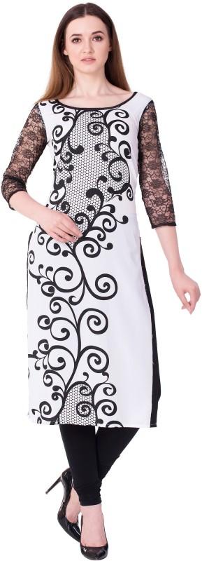 GMI Women Printed Straight Kurta(White, Black)