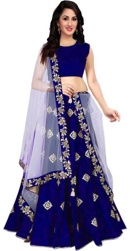 shelvinzas Embroidered Semi Stitched Lehenga, Choli and Dupatta Set(Blue)