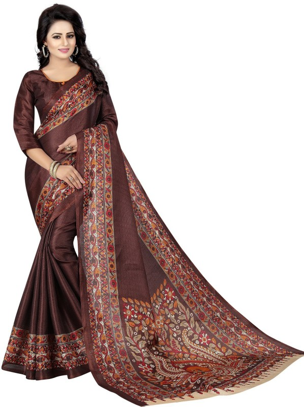 Active Printed Kalamkari Khadi Saree(Brown)