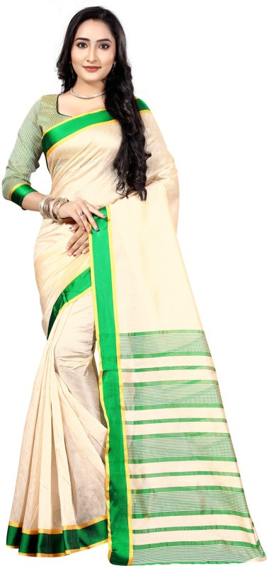 Bhuwal Fashion Striped Pochampally Art Silk Saree(Beige, Green, Gold)