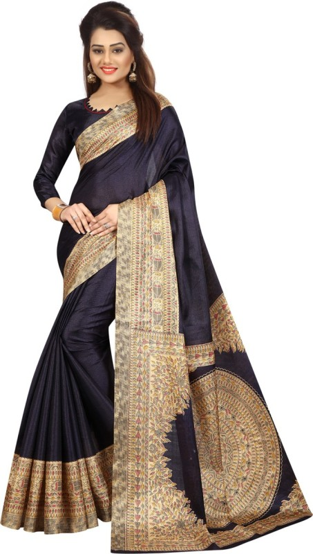 Active Printed Kalamkari Khadi Saree(Dark Blue)