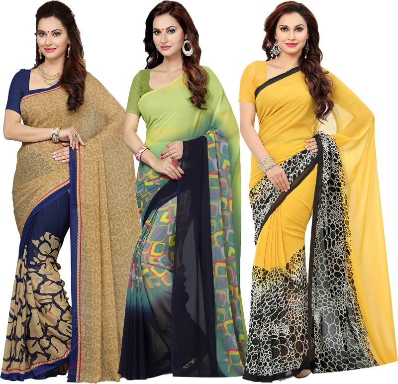 Ishin Printed Bollywood Synthetic Georgette Saree(Pack of 3, Multicolor)