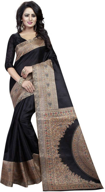 Active Printed Kalamkari Khadi Saree(Black)
