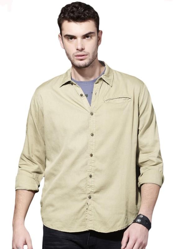 Roadster Men Solid Casual Beige Shirt